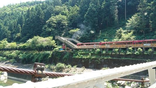 桂川の対岸「トロッコ保津峡駅」にトロッコ列車が停車中
